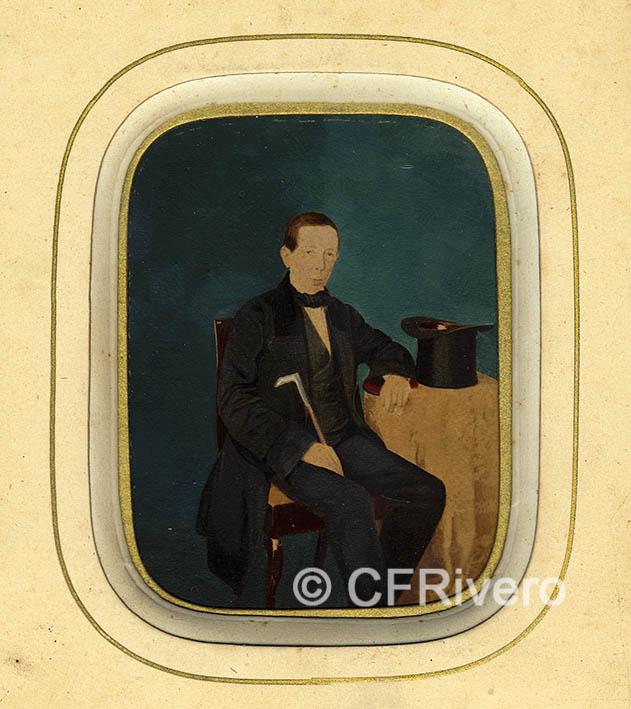 Fotografía de Morera y Garrorena. Retrato de caballero. Papel a la sal iluminado. Zaragoza, 1857/59
