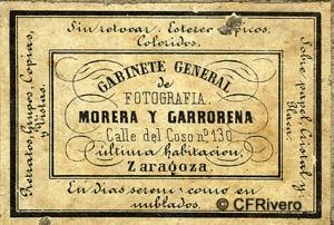 Morera y Garrorena. Dorso de la fotografía anterior. Zaragoza, 1857/1859
