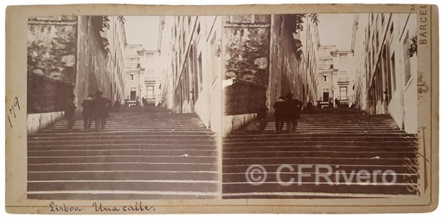 J. Roquer. Lisboa [Escaleras del Barrio Alto]. Estereoscopia en gelatina argéntica. Hacia 1900