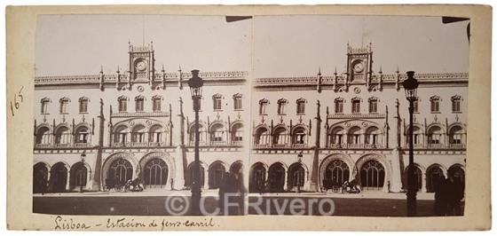 J. Roquer. Lisboa, estación de ferrocarril. Estereoscopia en gelatina argéntica. Hacia 1900