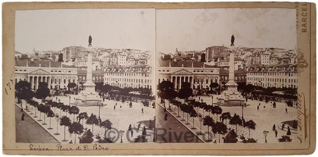 J. Roquer. Lisboa, Plaza de Don Pedro IV o El Rossio. Hacia 1900