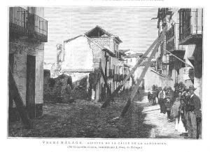 Vélez-Málaga, aspecto de la calle de la Alhóndiga. Grabado de fotografía de J. Oses. 1885