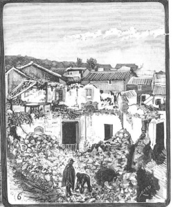 Dibujo de Comba a partir de fotografía de Juan Barrera. Periana, ruinas en la calle de La Fuente. Periana (Málaga), 1885. Grabado.