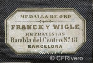 Franck y Wigle. Etiqueta de un dorso de daguerrotipo. Barcelona, 1850/60