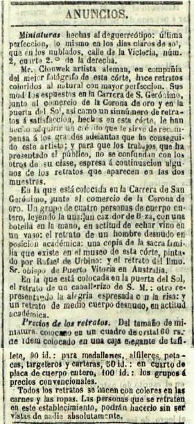 Anuncio de 1849 en el Diario Oficial de Avisos de Madrid