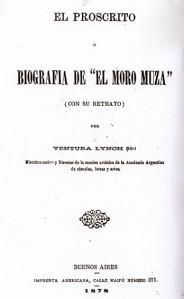 """Portada del libro de Ventura Lynch """"El proscrito ó biografía de El Moro Muza"""""""