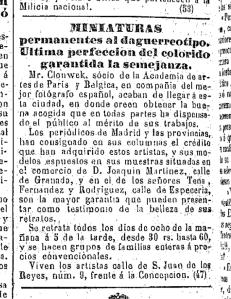 Anuncio de Mr. Clonwek en Málaga. El Avisador Malagueño. 18 de Octubre de 1854