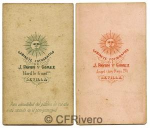 Dorsos de las cartes de visite de José Pavón y Gómez. Sevilla, ca. 1870