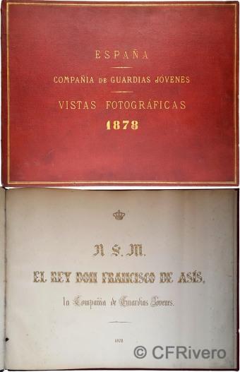 Álbum fotográfico de la Compañía de Guardias Jóvenes, 1878. Portada y dedicatoria
