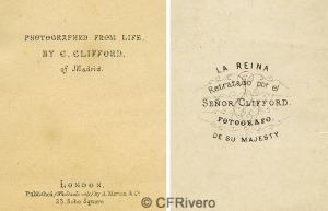 Dorsos de las Cartes de Visite de Clifford, la auténtica y la falsificada. Madrid, Ca. 1855