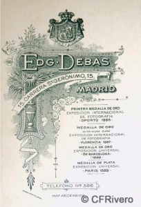 Dorso de una cabinet de Antonia Coronado, viuda de Edgardo Debas. Madrid, ca.1895.
