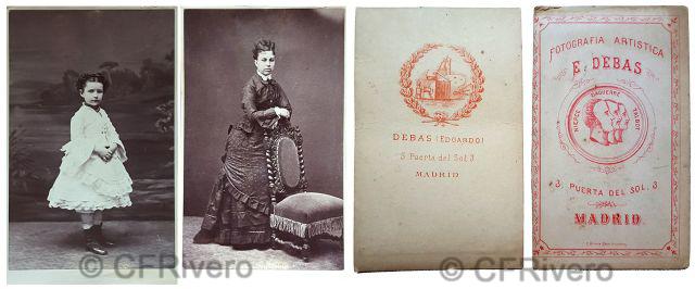 Edgardo Debas. Retratos de una niña y una dama. Madrid, ca. 1880. Cartes de visite en albúmina.