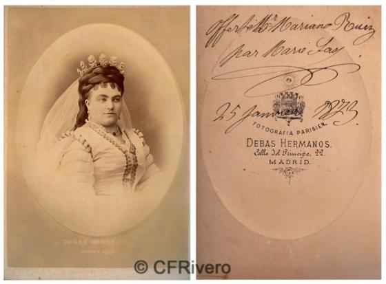 Hermanos Devas. Retrato de la soprano belga Marie Sasse. Madrid, 1873. Cabinet en albúmina.