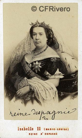 Neurdein. Isabel II de España. París, ca. 1865. Carte de visite en albúmina.