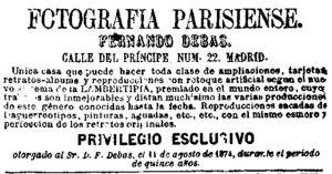 """Anuncio de Fernando Debas aparecido el 1/2/1875 en """"La Correspondencia de España""""."""