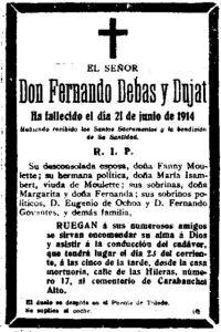 Esquela mortuoria de Fernando Debas, publicada en La Correspondencia de España, el 23/6/1914
