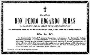 Necrológica de Pedro Edgardo Debas. La Época, 29/12/1891.