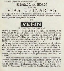 Anuncio de las aguas de Sousas y Caldeliñas, de Verín. Publicado en la Guía Colombina de 1892.