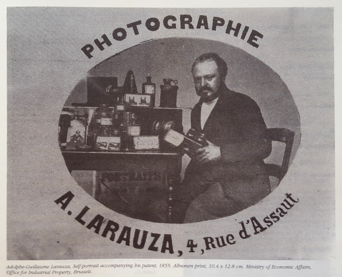 Adolphe-Guillaume Larauza, Self-portrait accompanying bis patent, 1855. Albumina. Ministry of Economic Affairs, Office for industrial Property, Brussels