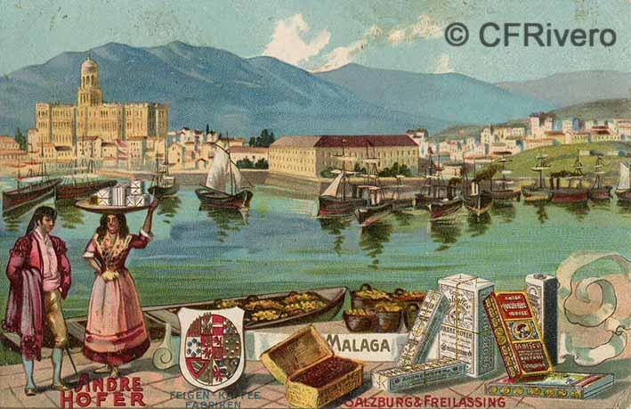 Málaga, fachada marítima y productos de la región. Postal litográfica, 1900/1905 editada por Andre Hofer de Salzburgo.
