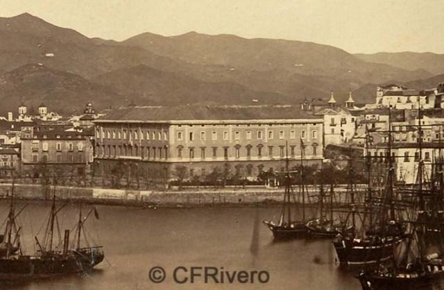 José Martínez Sánchez/Jean Laurent. Málaga, edificio de la Aduana (detalle). 1867. Albúmina sobre papel.