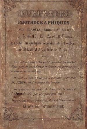 Adolphe Guillaume Larauza. Etiqueta identificativa de daguerrotipos. Bélgica 1850s.