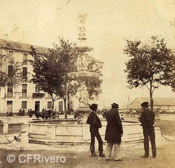 José Spreáfico/Ernest Lamy. Málaga, fuente de la Alameda. 1863. Albúmina sobre papel.