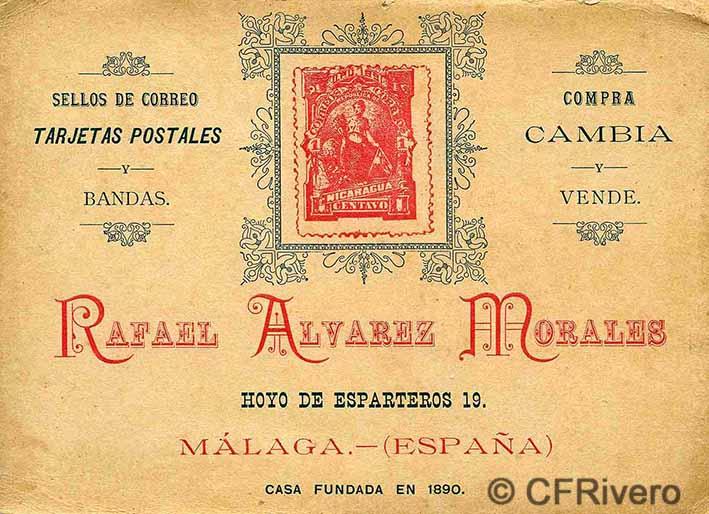 Impreso publicitario de Rafael Álvarez Morales como editor de tarjetas postales. Málaga, ca. 1900.