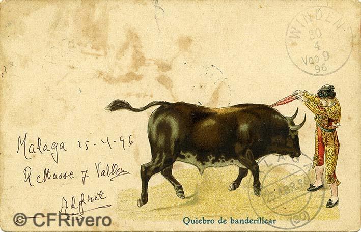 Primera tarjeta postal ilustrada editada en Málaga. Enviada desde Málaga el 25/4/1896 y recibida en Winden (Austria) el 30/4/1896.
