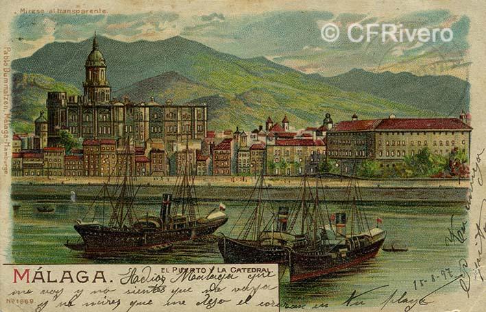 Pablo Dummarzen. Málaga, el puerto y la catedral. Dibujo litográfico. Tarjeta postal circulada en 1897