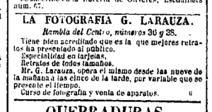 "Anuncio del fotógrafo Gustave Larauza. Diario ""La Corona"" de Barcelona 11/10/1864"