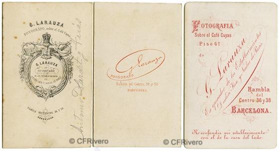 Gustavo Larauza. Tres dorsos diferentes impresos en sus cartes de visite. Barcelona 1865/1877