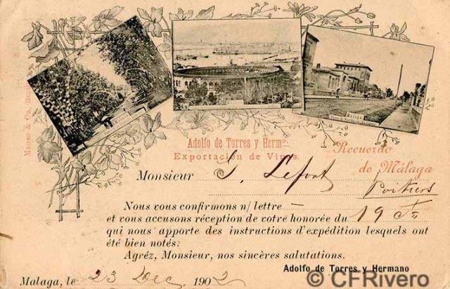 Tarjeta postal con tres vistas fotográficas de Málaga. Circulada en 1902 y editada por las bodegas de Adolfo de Torres y Hermano.