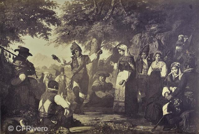 Reynoso (Sevilla). Reproducción del óleo de Dionisio Fierros titulado