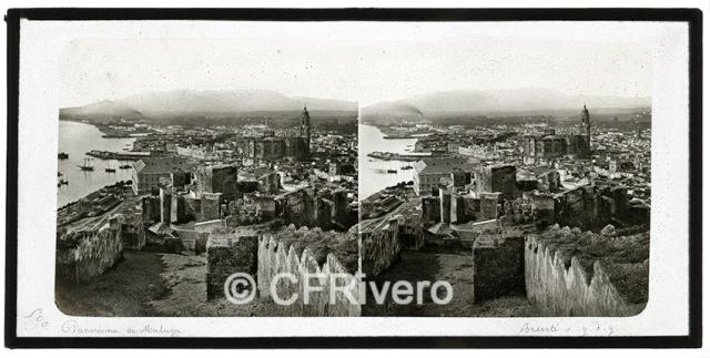 Ferrier-Soulier. 6500 Panorama de Malaga. 1857. Colodión sobre vidrio en formato estereoscópico
