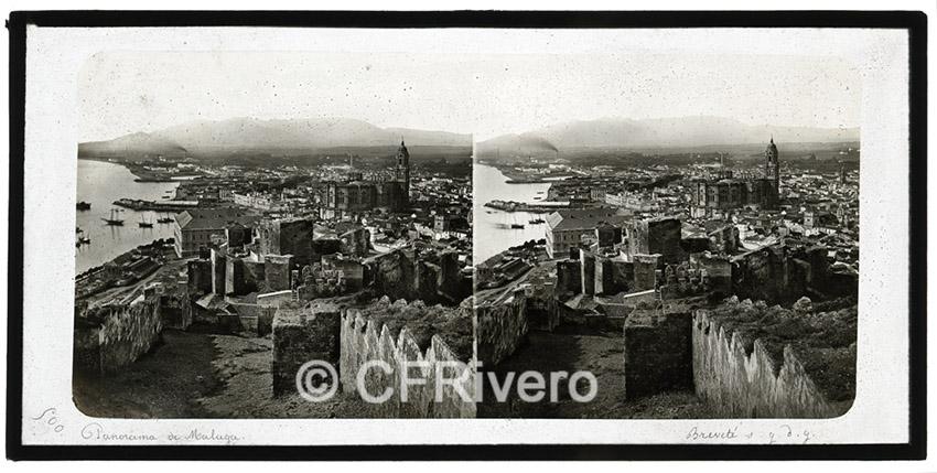 Ferrier-Soulier. Panorama de Malaga. 1857. Albúmina en formato estereoscópico