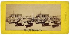 Ferrier-Soulier. Malaga, vue du port. 1857. Albúmina en formato estereoscópico