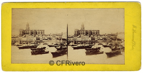 Jean Laurent/Ferrier. Malaga, vue du port. 1857. Albúmina en formato estereoscópico