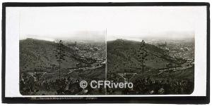 Ferrier-Soulier. 7082 Panorama de Malaga pris de Saint-Christophe. Albúmina en formato estereoscópico