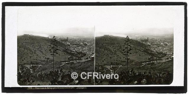 Ferrier-Soulier. 7082 Panorama de Malaga pris de Saint-Christophe. Colodión sobre vidrio en formato estereoscópico