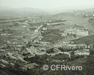 Ferrier-Soulier. Malaga, vue des faubourgs. 1857. Albúmina. Mitad de un par estereoscópico