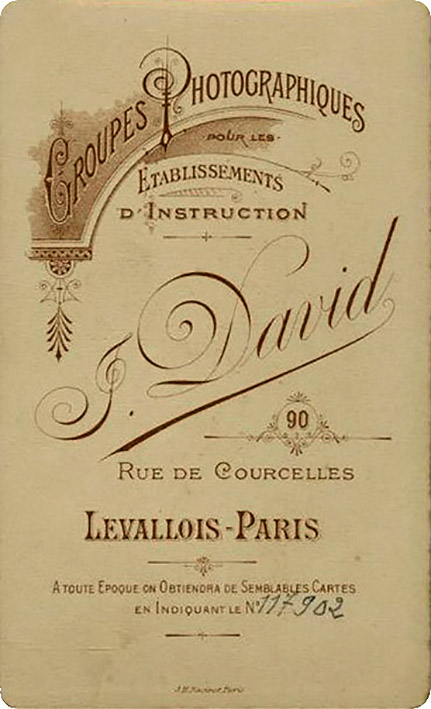 Jules David. Dorso impreso. Paris h. 1885
