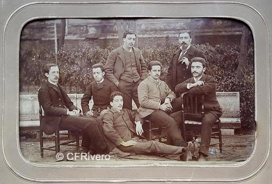 Jules David. Grupo de jóvenes ingenieros. Madrid, h. 1880