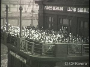 Autor desconocido. Despedida al trasatlántico Conte Grande. Nueva York, h. 1928. Fotograma