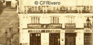 Jean Laurent. Nº 40 Madrid, Puerta del sol, detalle que muestra la fachada de la Litografía Escarpizo. 1865-70. Albúmina