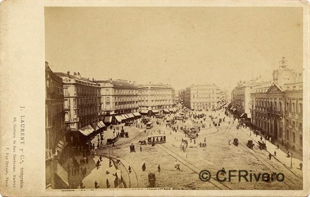 Jean Laurent. Nº 41[b], Madrid, vista general de la Puerta del Sol. 1868-70. Albúmina (CFRivero)