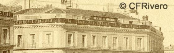 Jean Laurent. Nº 41[d], Madrid, Vista general de la Puerta del Sol. Detalle. 1866-72. Albúmina