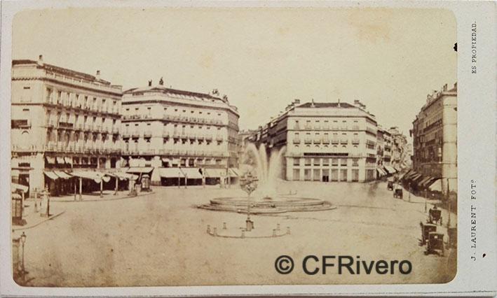 Jean Laurent. Nº 42, Madrid, la Puerta del Sol. 1866-70. Carte de visite en albúmina (CFRivero)