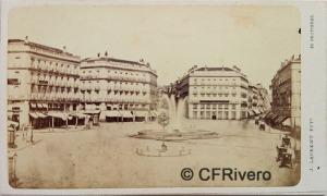 Jean Laurent. Nº 42, Madrid, Vue generale de la Puerta del Sol. 1866-70. Carte de visite en albúmina (CFRivero)
