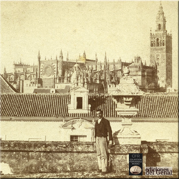 Contraportada del libro: Descubriendo a Luis Masson: Sevilla, panorámica desde el Alcázar.